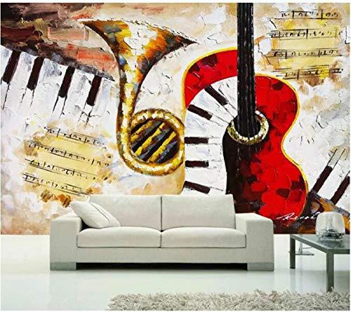 DZBHSCL 4D Behang muurschilderingen, creatieve vintage gitaren saxofoon piano noten Hd kunstdruk formaat fotobehang poster voor restaurant café hotel cvé restaurant achtergrond muur decor 112in×184in 280cm(H)×460cm(W)