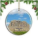 Weekino Manhattan Flint Hills Discovery Center Kansas Estados Unidos Decoración de Navidad Árbol de Navidad Adorno Colgante Ciudad Viaje Colección de Recuerdos Porcelana 2.85 Pulgadas