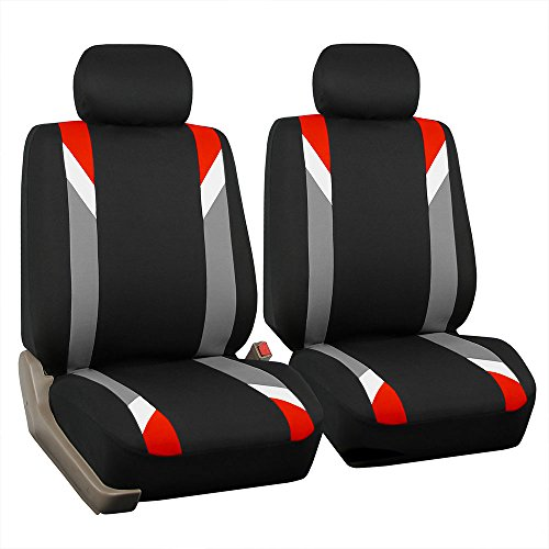 red and blue seat covers car - 1