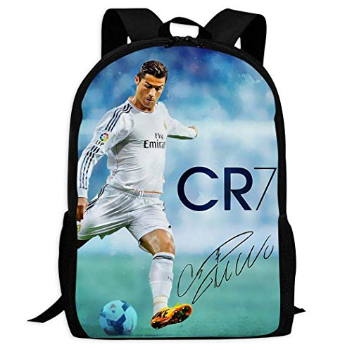 DJNGN Cristiano Ronaldo 7 Mochila Ocio Adultos Juventud Niño Niña Bolsa de Libros Estudiante Universitario Regalos Escolares