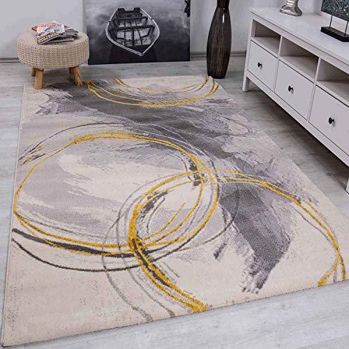 VIMODA Teppich Wohnzimmer Schlafzimmer Flur Teppich Kreisel Muster Gelb, Maße:160x220 cm