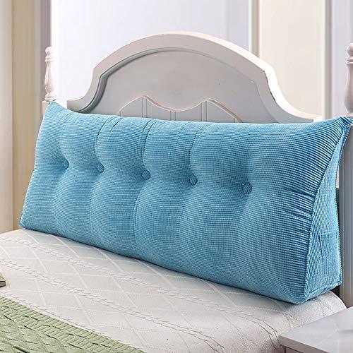 ZHAYEDE Große Bequeme dreieckige Rückenlehne Bett Kissen Kopfteil,Rückenkissen keilkissen Bett zum Lesen Rest im Bett Rest Atmungsaktive Lendenkissen Bücherkissen Taille mit waschbarem Blau