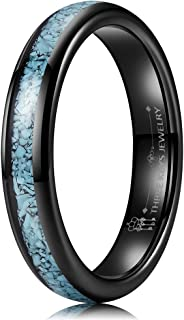 THREE KEYS JEWELRY Mens Womens Tungsten Ring 4mm Natural Turquoise Granules Inlay Wedding Band
