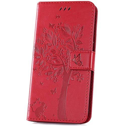 Surakey kompatibel mit Xiaomi Mi A2 Lite Hülle Leder Flip Hülle Wallet Tasche Handyhülle Katze Baum Muster Flip Cover Brieftasche Etui Schutzhülle Handytasche Ständer für Xiaomi Mi A2 Lite,Rot