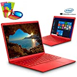 Ordenador Portatil Intel Celeron J3455 Ultrabook 14.1'IPS/HD Notebook Intel Core 6GB RAM 128GB SSD Windows 10 Home 2.3Ghz Computadora Batería 8000mAh Intel HD Graphics 500 PC Portatil (Rojo)