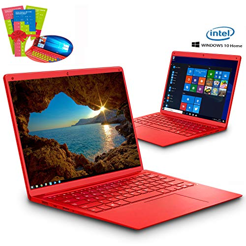 Ordenador Portátil Intel Celeron J3455 Ultrabook 14.1'IPS/HD Notebook Intel Core 6GB RAM 128GB SSD Windows 10 Home 2.3Ghz Computadora Batería 8000mAh Intel HD Graphics 500 PC Portatil (Rojo)