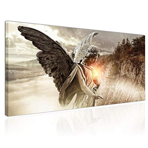 Topquadro XXL Wandbild, Leinwandbild 100x50cm, Engel, Regen Licht und Berge - Panoramabild Keilrahmenbild, Bild auf Leinwand - Einteilig