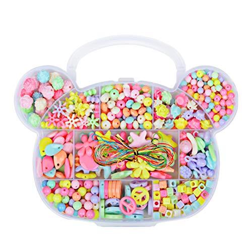 Kit de fabricación de Joyas de Bricolaje, Juego de Perlas para Hacer Pulseras de Bricolaje, joyería de Perlas para niños, Juego de Bricolaje para Hacer Collar, Pulsera, Anillo, Diadema y aretes