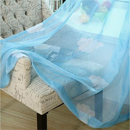 Hjku Vorhang für Kinderzimmer, Voile-Vorhänge, Blauer Tüll, 1 PCS W400 X H260cm