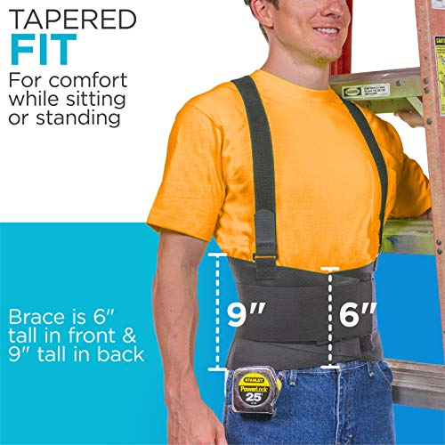 BraceAbility Industrial Work Back Brace | Removable Suspender Straps for Heavy Lifting Safety - Lower Back Pain Protection Belt for Men & Women in Construction, Moving and Warehouse Jobs