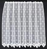Cortina de media altura cuadrados altura 110 cm | Ancho de la cortina seleccionable por la cantidad comprada en pasos de 11,5 cm | Color: Blanco | Cortinas cocina
