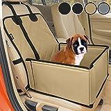 Extra Stabiler Hunde Autositz - Hochwertiger Auto Hundesitz für kleine bis mittlere Hunde - Verstärkte Wände und 3 Gurte - Wasserdichter Hundeautositz für Rück- und Vordersitz (Beige-Schwarz)