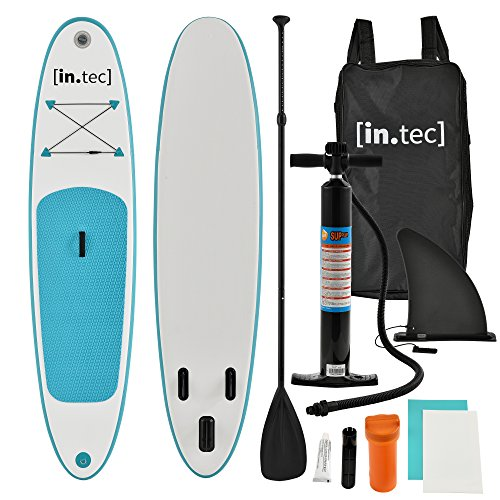 in.tec] Tabla de Surf Hinchable remar de pie Paddle Board 305 x 71 x 10cm Tabla de Sup de Aluminio con Remo y Bomba - Turquesa