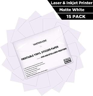 "Printable Vinyl Sticker Paper -Waterproof Printable Vinyl for Laser & Inkjet Printer 15 Self-Adhesive Sheets - Matte White - Standard Letter Size 8.5""x11"""