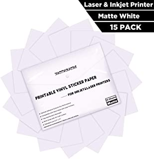 Printable Vinyl Sticker Paper -Waterproof Printable Vinyl for Laser & Inkjet Printer 15 Self-Adhesive Sheets - Matte White - Standard Letter Size 8.5