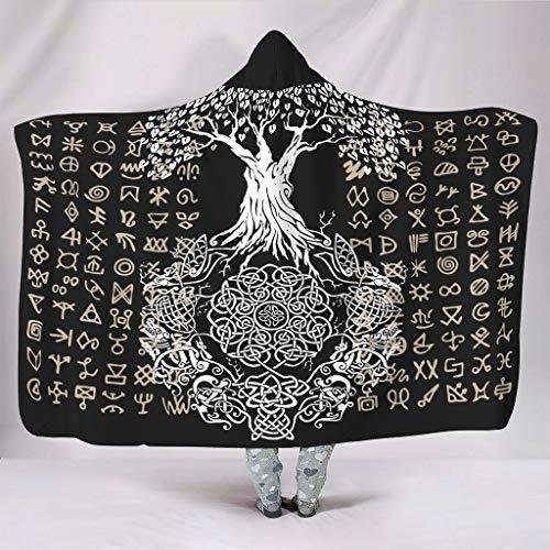 YCNJJB Sudaderas con capucha vikingo, grande, suave, lujosa, divertida, para estudio de biblioteca, para niñas/niños, regalo blanco, 127 x 152 cm