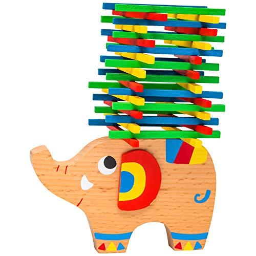 Natureich Elefant Montessori Stapel Spielzeug Holz zum Geschicklichkeit Lernen mit Stäbchen Bunt ab 4 Jahre für die frühe Motorik Entwicklung Ihres Kindes in Bunt