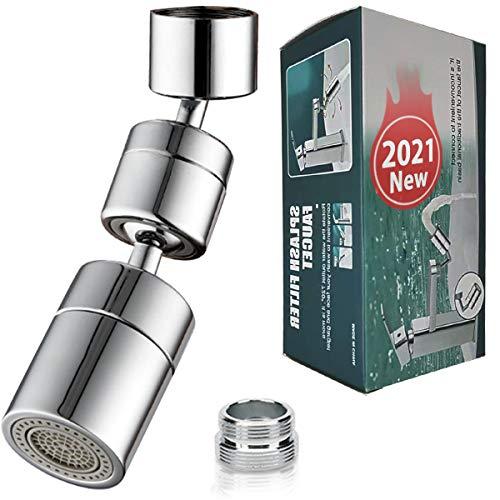 【2021 Actualización】 Grifo filtro salpicaduras universal – Grifo filtro de antisalpicaduras, M22 y M24 Acero inoxidable, espuma enriquecida con oxígeno filtro de malla, cabezal giratorio 1080°Aireador