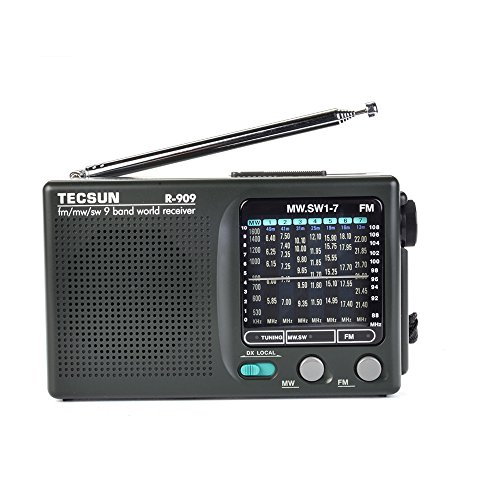TECSUN R-909 AM FM SM MW (9 Bands) Multi Bands Radio Receiver Broadcast with Built-in Speaker