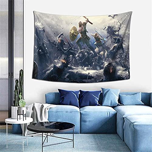 Tapiz de God War exquisito hecho de poliéster suave y agradable a la piel, adecuado para paredes de sala de estar y dormitorio de 152 x 101 cm