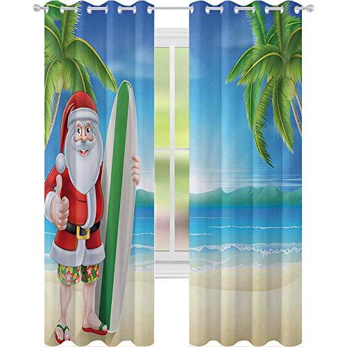 Cortinas para ventana de oscurecimiento de habitación, Papá Noel con troncos en la playa y tabla de surf Sunny Hot Christmas Theme, 153 cm de largo cortinas para sala de estar, dormitorio, azul verde