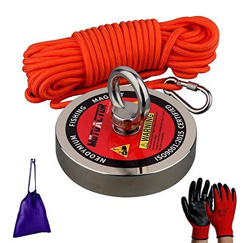 MUTUACTOR Imán de pesca de fuerza de neodimio de 500 kg, potente imán recordatorio N52 con cuerda duradera, guantes y bolsa de transporte, imán de recuperación robusta para la búsqueda del tesoro