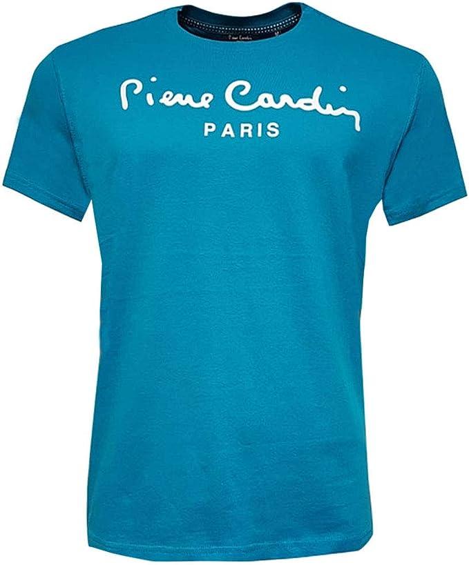 Pierre Cardin Hombre Classic 100% Algodón Camiseta Manga Corta con Cuello Redondo Estampado Grande - Multicolor - Talla S-2XL Disponible