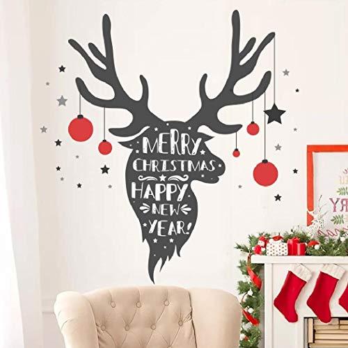 Etiquetas engomadas de la ventana de la Navidad, etiquetas engomadas de la pared de la Navidad, 50x70cm Etiquetas engomadas de la pared del alce Etiquetas engomadas de la decoración de la Navidad de