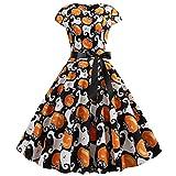 COZOCO Vestido De Fiesta con Estampado De Calabaza De Halloween para Mujer Manga Corta Cuello Redondo Cremallera Vestido De Fiesta Hepburn S 2XL