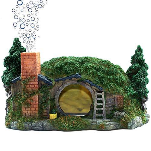 XiR Aquarium Decorations Air Bubbler Ornament for Betta Fish Tank Hiding Cave Castle Large 10.3'x6.7'x5.9'