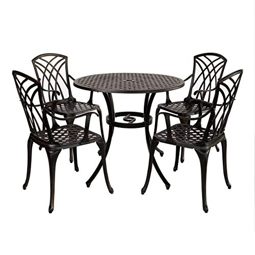 Kinger Home Outdoor Dining Set 5 Pieces, 34 Inch Large Round Metal Dining Table with Umbrella Hole, 4 Armrest Chairs, Cast Aluminum Patio Dining Furniture, Weatherproof and Windproof - Antique Brown