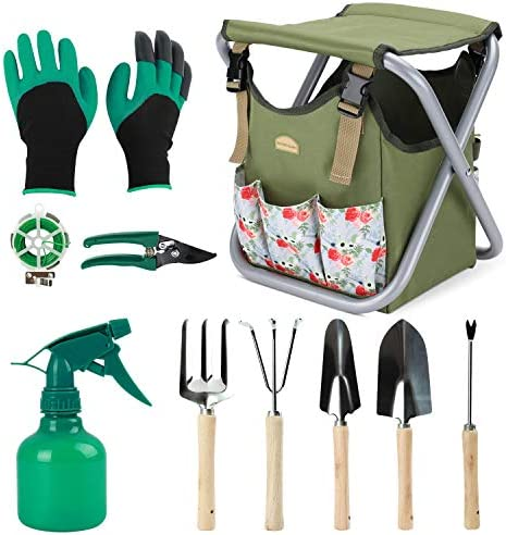 G GOOD GAIN 12 pcs Garden Tools Stool Gardening Hand Tools Set with Folding Chair Seat and Garden product image