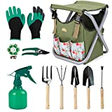 Good GAIN Garden Tools Stool, 12 pcs Gardening Hand Tools Set with Folding
