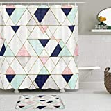 VAMIX Shower Curtain Sets with Non-Slip Rugs,I Like Exercise Mod Triangles Navy Blush Mint,Waterproof Bath Curtains Hooks and Bath Mat Rug Included