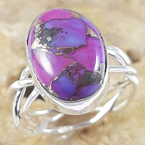 Solid 925 Sterling Silver Women Jewelry Natural Copper Purple Turquoise Gemstone Ring Size 5