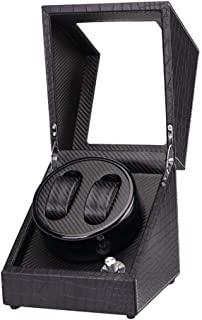 Watch 2 Grids Automatic Watch Winder Box Case with Quiet Motor Watch, Luxury, Fashion Watch (Color : Black-1)
