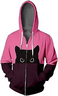 Zip Up Hoodie Women Cat Lover Graphic Hip Hop Zipper Color Stamped Long Sleeve Blouse Hooded Coat