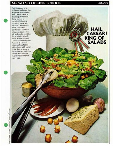 McCall's Cooking School Recipe Card: Salads 4 - Caesar Salad (Replacement McCall's Recipage or Recipe Card For 3-Ring Binders)