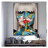 CBYLDDD Graffiti Red Lip Shush Bicchieri Drink Drink Art Canvas Stampa Pittura Immagine Moderna Picture Donne Soggiorno Decorazione della casa Poster 16x24in Senza Cornice