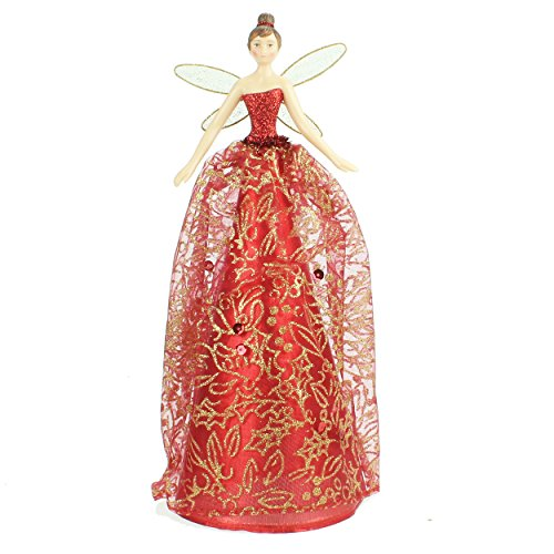 Resin Tree Top Fairy With Red/Gold Fabric Dress