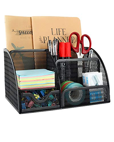 EasyPAG Mesh Desk Organizer 6 Compartment Pencil Holder Accessories Storage with Drawer for Paper and Office Supplies,Black