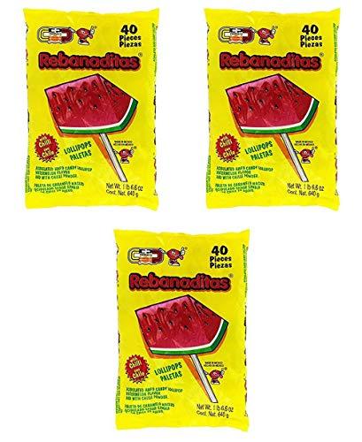 Dulces Vero Vero Rebanadita Paletas Sabor Fresa Con Chile Mexican Hard Candy Chili Pops 40 Pc Pack of 3