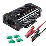 BYGD 1000W Potenza Invertitore 12V a 230V 2 Porte Smart USB 1 Prese AC, Convertitore Poten...