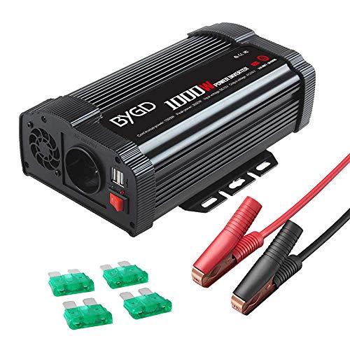 BYGD 1000W Potenza Invertitore Onda Pura 12V a 230V 2 Porte Smart USB 1 Prese AC, Convertitore Potenza per Auto/Camper/Barca a Onda Sinusoidale Modificata