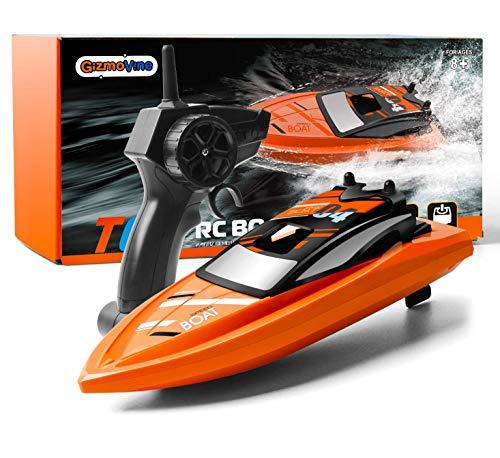 GizmoVine Barco Teledirigido RC Barco Alta Velocidad de 2.4 GHz ,Juguetes Electronico para Niño Niña Juegos en Bascula Baño y Piscina (Naranja Barco)