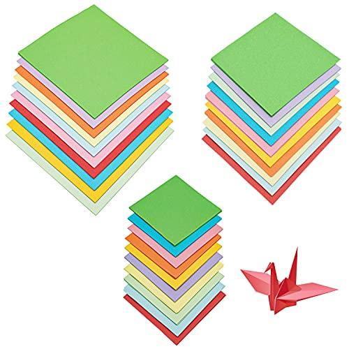 Generic LONHCHI 300 Fogli di Carta Origami Fronte-Retro Carta Colorata per Bambini, Folded Square Origami Tre Misure 7 x 7 cm,10 x 10 cm,14 x 14 cm