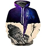 ANCHILMS Unisex 3D Druck Hoodie Langarm Pullover Sweatshirt Alter lila Rauch-M