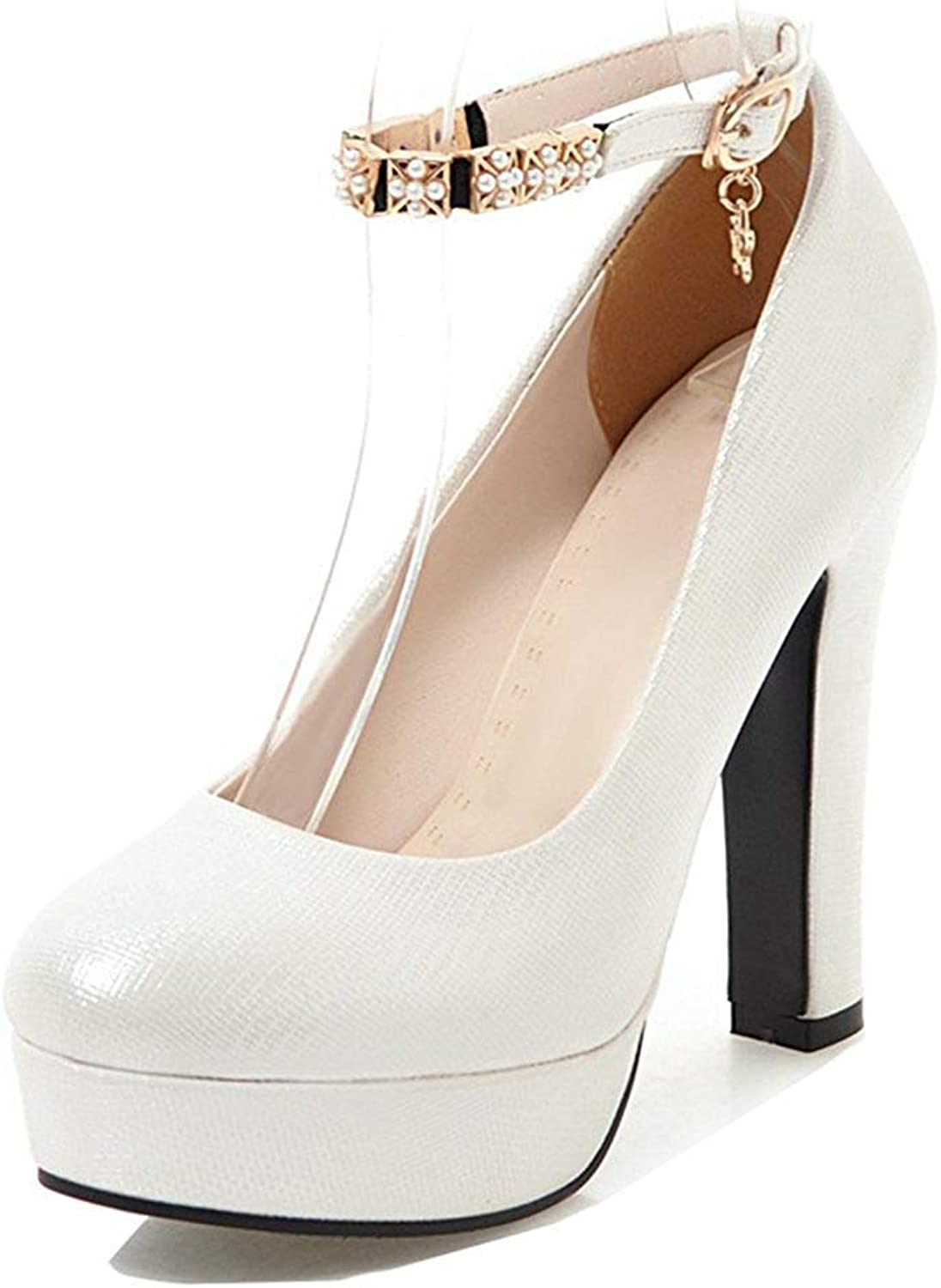 Unm Women's Round Toe Pumps with Ankle Strap - Platform High Heel Buckled - Chunky Evening shoes