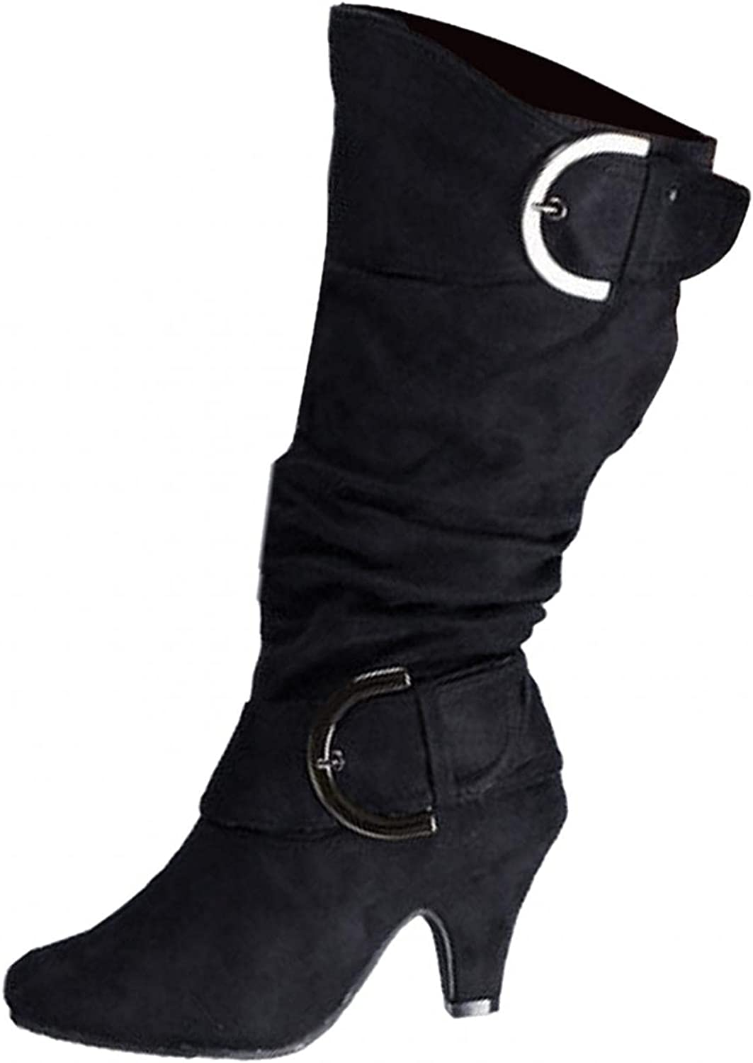 Masbird Boots for Women Knee High Pointed Toe Combat Boots Low Heel Boots Strap Buckle Boots