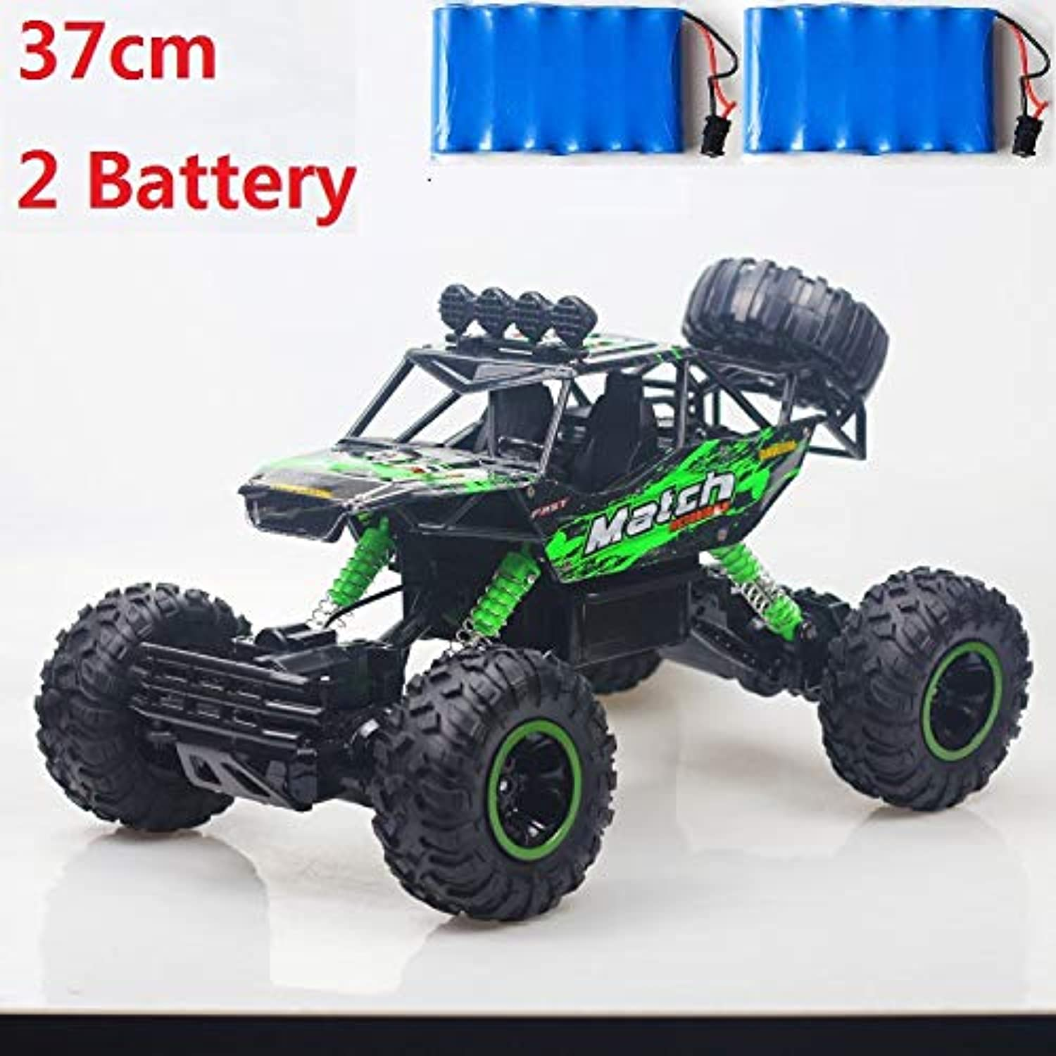 Generic RC Car 1 12 4WD Rock Crawlers 4x4 Driving Car Double Motors Drive Bigfoot Car Remote Control Car Model OffRoad Vehicle Toy Gift 37cm 2 Battery Green